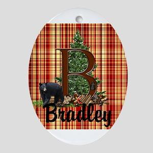 Personalize Plaid Black Bear B Oval Ornament