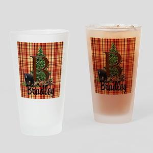 Personalize Plaid Black Bear B Drinking Glass