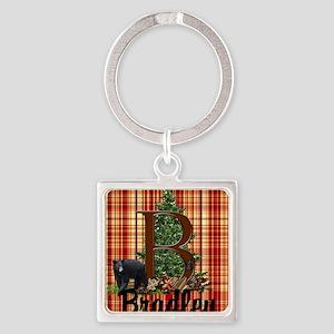 Personalize Plaid Black Bear B Keychains