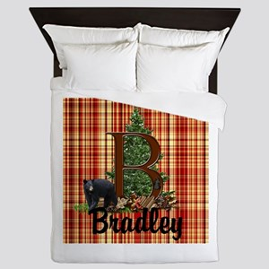 Personalize Plaid Black Bear B Queen Duvet