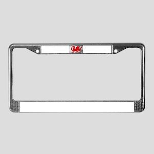 Welsh Dragon Grunge License Plate Frame
