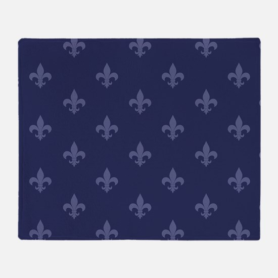 Fleur De Lis (Navy Blue) Throw Blanket