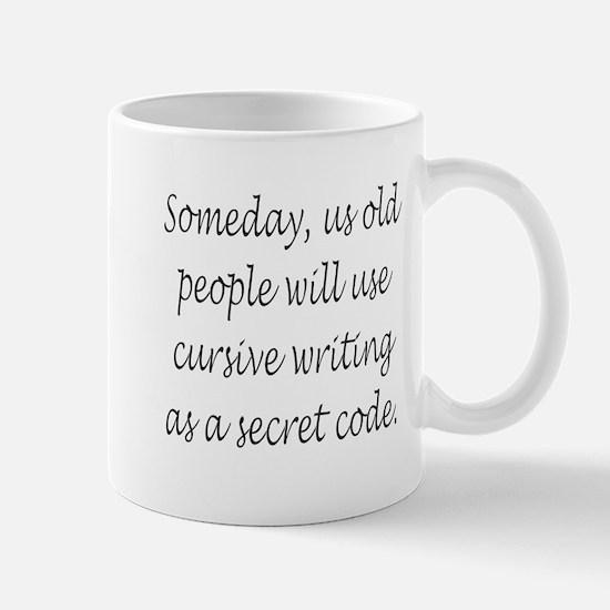 Cursive Secret Code Mugs