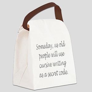 Cursive Secret Code Canvas Lunch Bag