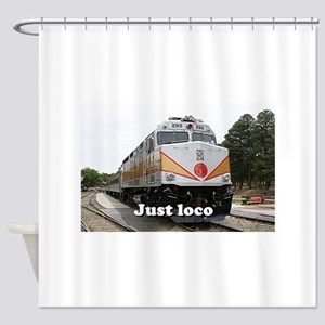 Just loco: railway, locomotive, Gra Shower Curtain