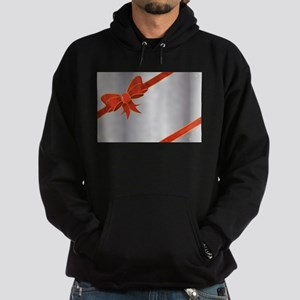 Christmas Ribbon on Silver Hoodie (dark)