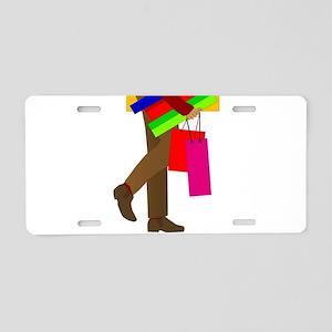 Man Shopping Aluminum License Plate