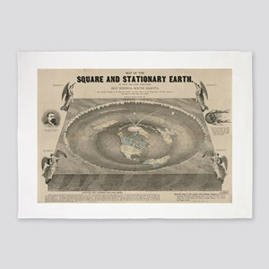 Flat Earth Map, 1893 5'x7'Area Rug