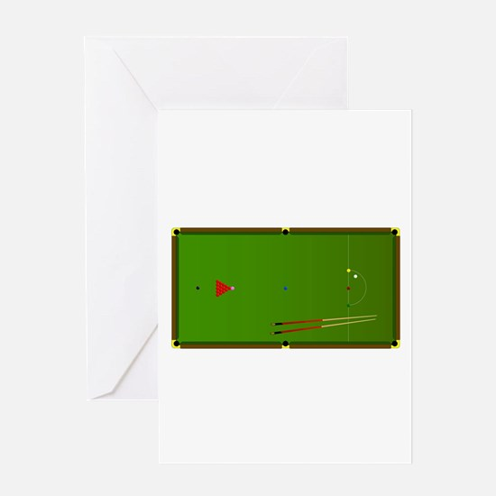 Snooker Table Greeting Cards