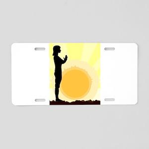 Yoga Salutation Aluminum License Plate