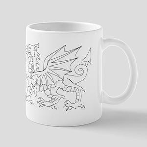Welsh Dragon Outline Mugs