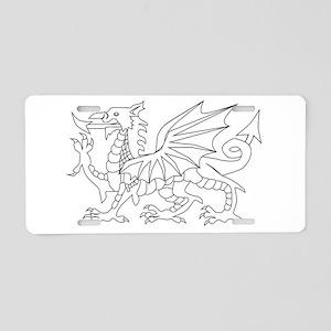 Welsh Dragon Outline Aluminum License Plate