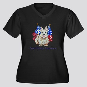 Scottie Amer Women's Plus Size V-Neck Dark T-Shirt