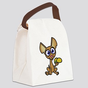 Chihuahua with taco Canvas Lunch Bag
