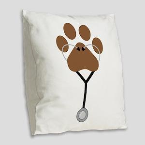 Vet Stethescope Burlap Throw Pillow