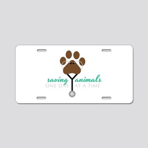 Saving Animals Aluminum License Plate