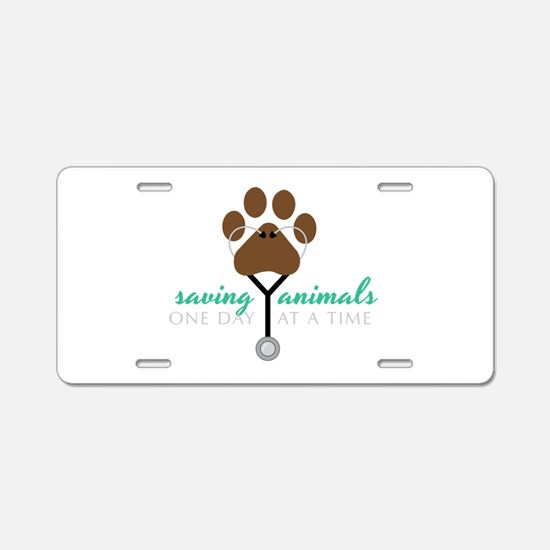Saving Animals Aluminum License Plate