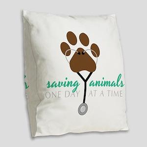 Saving Animals Burlap Throw Pillow