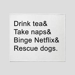 Tea, Naps, TV, Dogs Throw Blanket