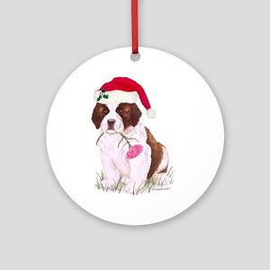St Bernard Santa Puppy Ornament (Round)