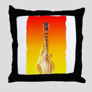 Burning Solid Electric Guitar Throw Pillow