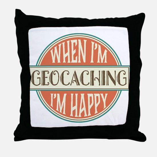happy geocacher Throw Pillow