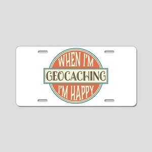 happy geocacher Aluminum License Plate