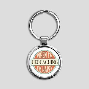 happy geocacher Round Keychain