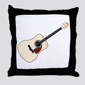 Pale Acoustic Guitar Throw Pillow