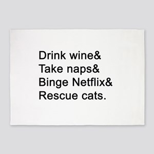 Wine, Naps, Netflix, Cats 5'x7'Area Rug