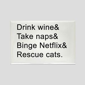 Wine, Naps, Netflix, Cats Magnets