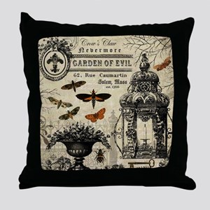 Modern vintage Halloween garden Throw Pillow