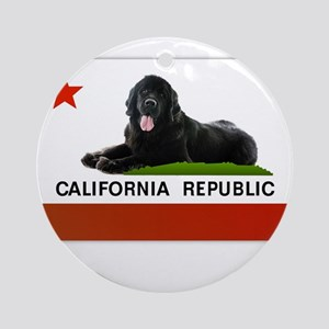 California Newfie Flag Round Ornament