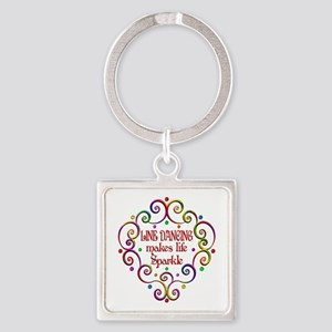 Line Dancing Sparkles Square Keychain