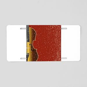 Grunge Violin Aluminum License Plate