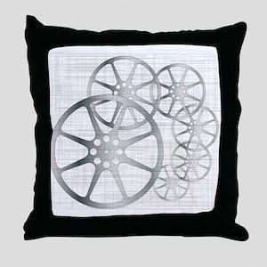 Movie Reel Grunge Throw Pillow