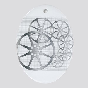 Movie Reel Grunge Oval Ornament