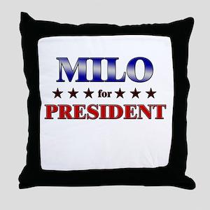 MILO for president Throw Pillow
