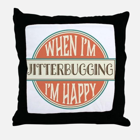 happy jitterbugger Throw Pillow