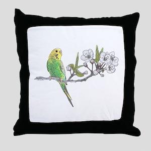 Parakeet On Branch Throw Pillow