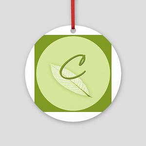 Leaves Monogram C Ornament (Round)