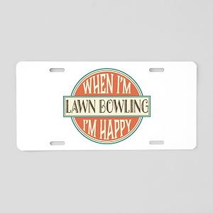 happy lawn bowler Aluminum License Plate