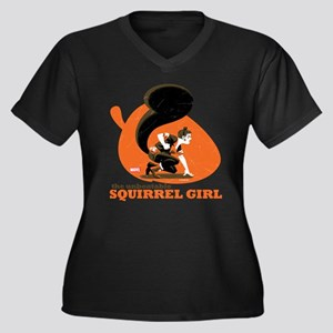 Squirrel Gir Women's Plus Size V-Neck Dark T-Shirt