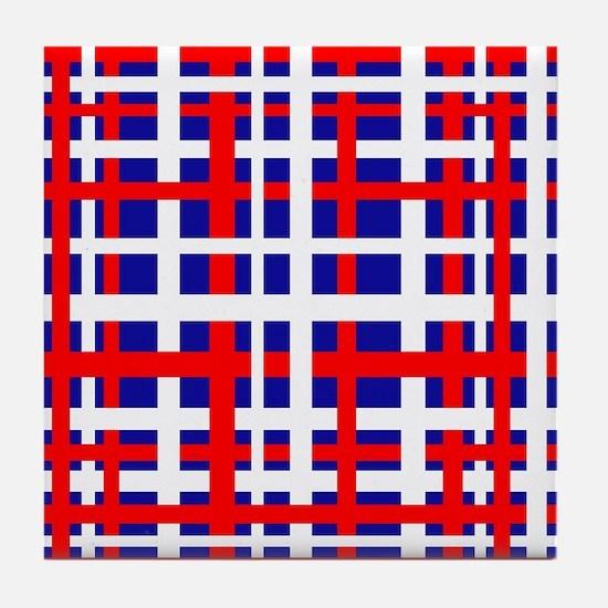 Patriotic Interlocking Stripes Tile Coaster