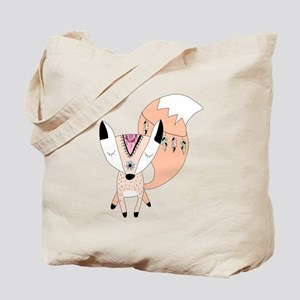 Pink Peach Tribal Fox Tote Bag