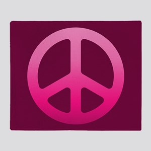 Pink Fade Peace Sign Throw Blanket