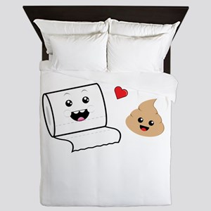 Funny Cute Besties Toilet Paper and Po Queen Duvet