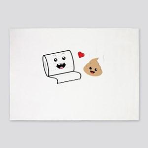 Funny Cute Besties Toilet Paper and 5'x7'Area Rug