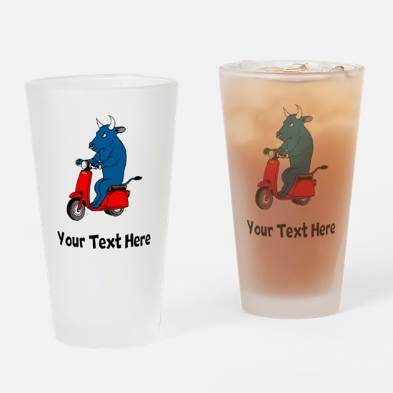 Bull On Scooter (Custom) Drinking Glass