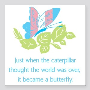 "Transgender Butterfly Square Car Magnet 3"" x 3"""
